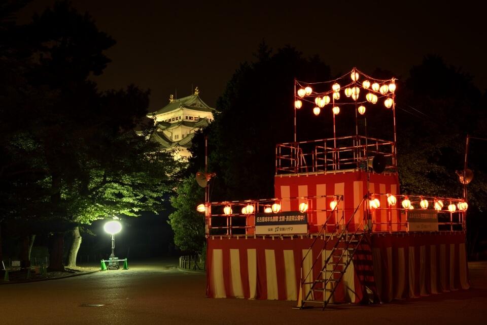 名古屋城宵祭り・盆踊りの夜景写真