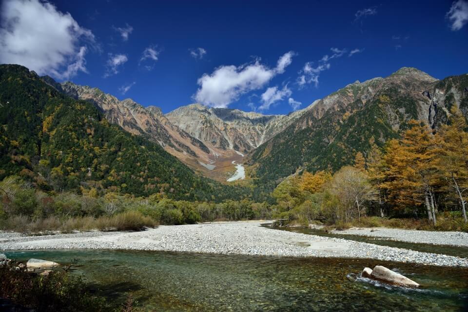 上高地の秋紅葉写真