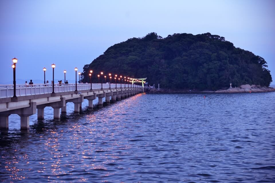 竹島桟橋の夕日写真