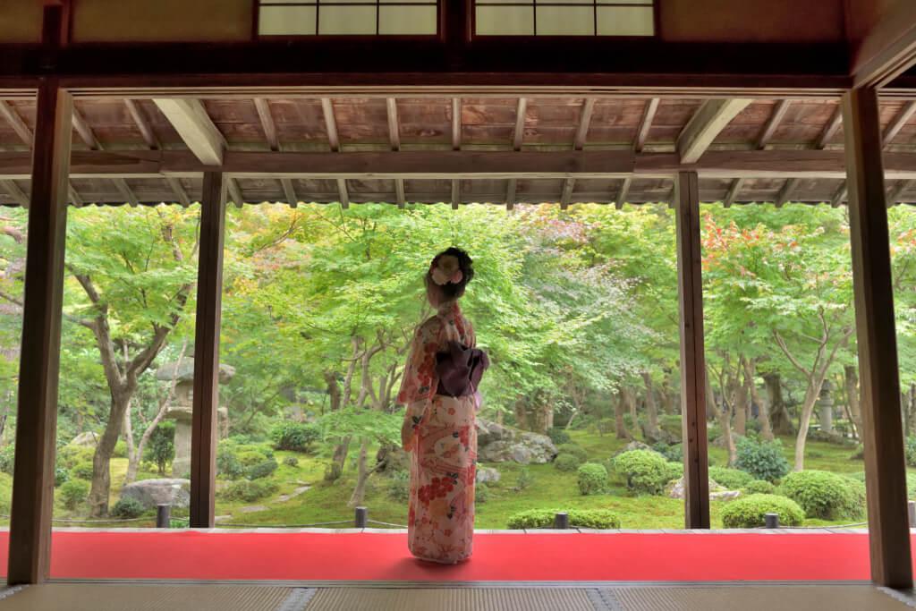 京都圓光寺で着物写真